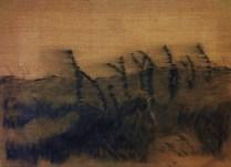 The dyke. Cahrcoal, acrylic, on jute. 2012. 110x80 cm.