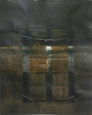 Waterstanden. Ets, kartondruk. 2017. 50x60 cm.