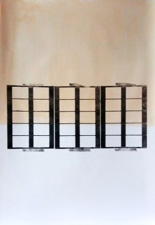 Zonder titel. Kartondruk, acryl op papier. 2017. 79x112 cm.